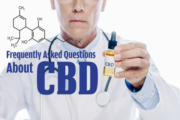 cropped-view-of-doctor-in-white-coat-holding-cbd-oil-isolated-on-white-with-frequently-asked-questions-about-cbd-illustration